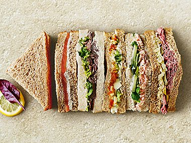 A selection of triangle cut sandwiches