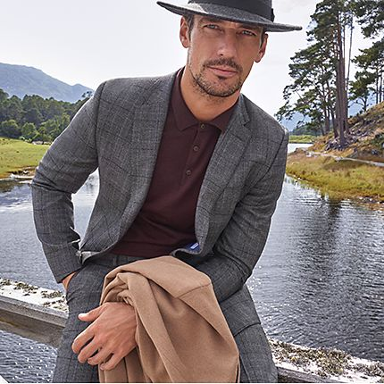 David Gandy wearing grey suit