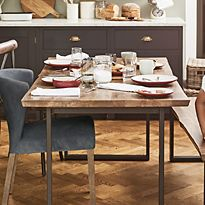 Sanford parquet dining table and dining chairs