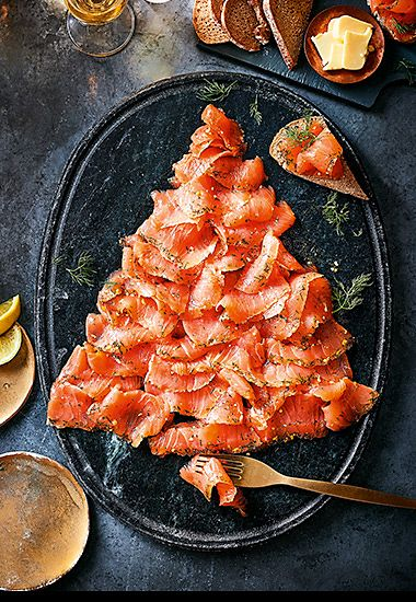 Gin-cured smoked salmon in a Christmas tree shape