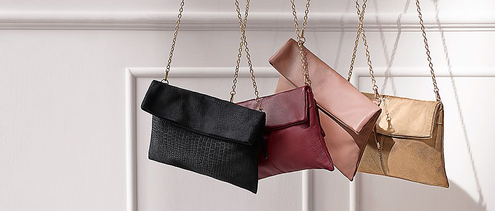 A selection of chain-strap handbags