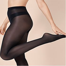 Woman wears black tights