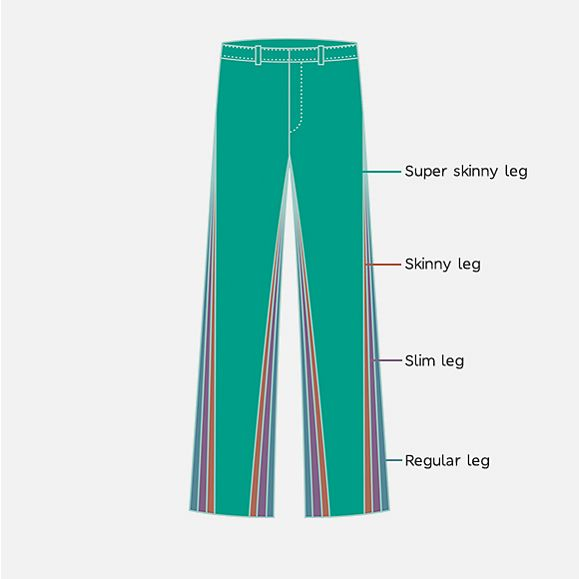 Illustration showing the different trouser styles available in the M&S school uniform range