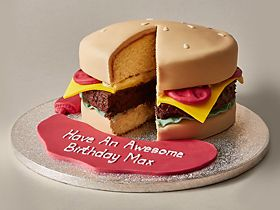 Hamburger Cake With Personalised Message