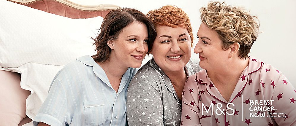 Three women wearing M&S pyjamas
