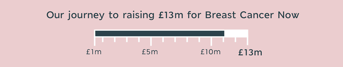 Barometer showing our journey to raising £13m for Breast Cancer Now