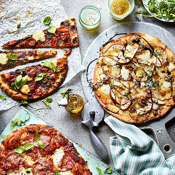 A selection of homemade pizzas