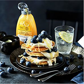 Lemon and gin and tonic pancakes with blueberries