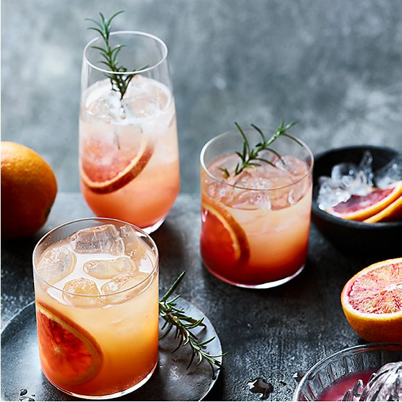 Glasses of blood orange spritz