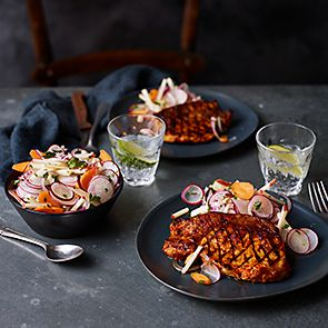 Pork chop with apple slaw