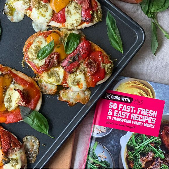 Mini pitta pizzas and the Cook with M&S recipe book