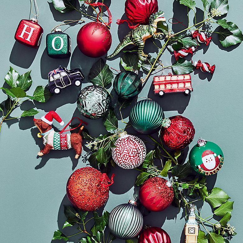 Assorted novelty Christmas baubles