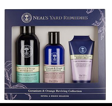 Neal's Yard Remedies geranium and orange reviving set including shower gel, body lotion and hand cream
