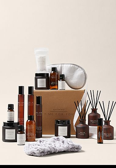 Apothecary Time for You gift set including candles, diffusers, sprays, bottles, eye mask and headband