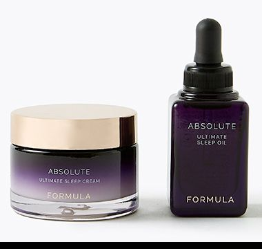 Pot of Absolute Ultimate sleep cream and bottle of Absolute Ultimate sleep oil