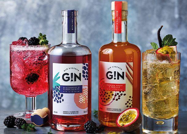 Blackberry & elderflower- and passion fruit & vanilla-flavour gins