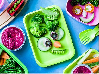 Monster crunch vegetable crudités for kids
