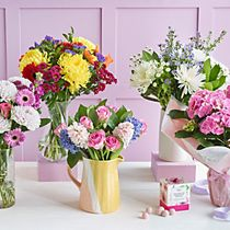 A selection of Mother's Day flowers and pink champagne truffles