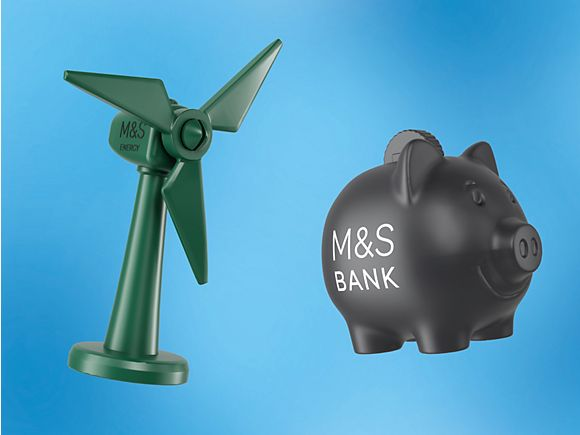 Little Shop 2 mini M&S Energy green windmill and M&S Bank piggy bank