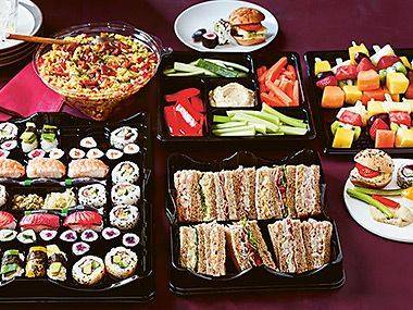 Sandwiches, sushi and salads