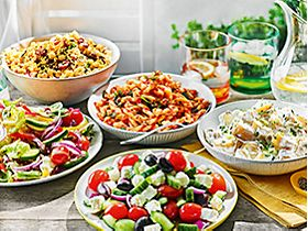 Selection of vegetarian and vegan salads