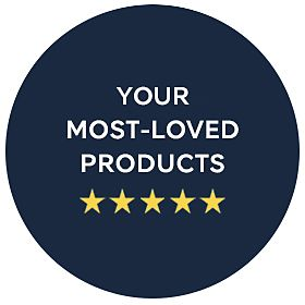 Your most-loved products graphic with five stars