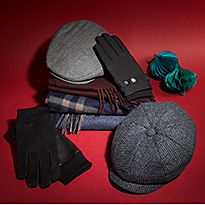 Various men's hats, gloves and scarves