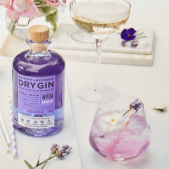 Lavender and rose colour changing gin