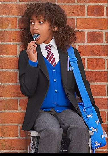 Girl wearing M&S school blazer