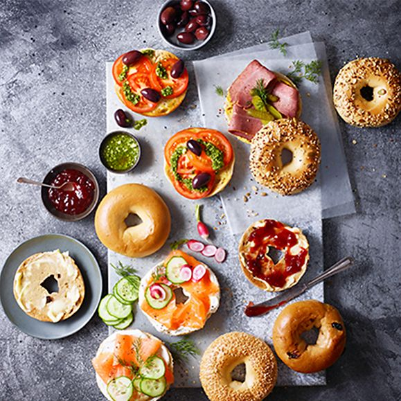 A selection of bagels with fresh toppings