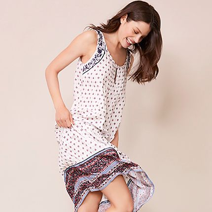 Woman in printed cotton night dress