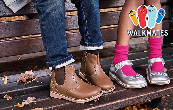 Children wearing M&S shoes, including the new Walkmates footwear range