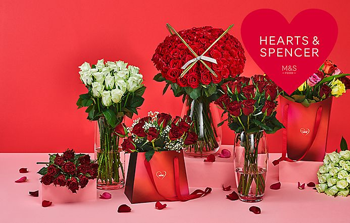 Selection of Valentine's flowers and floral gift bags