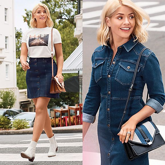 Holly Willoughby wearing two different denim looks