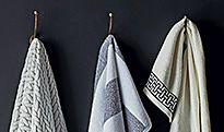 Towels hanging in a bathroom