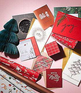 A selection of Christmas cards and wrapping paper