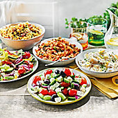 Selection of salads on an outdoor table