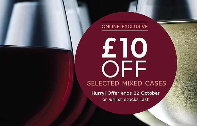 £10 off selected mixed wine cases