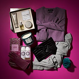 Luxury gift collection including cashmere jumpers and leather gloves