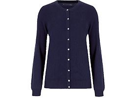Navy cashmere button-through cardigan