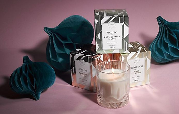 Assortment of cocktail-scented candles