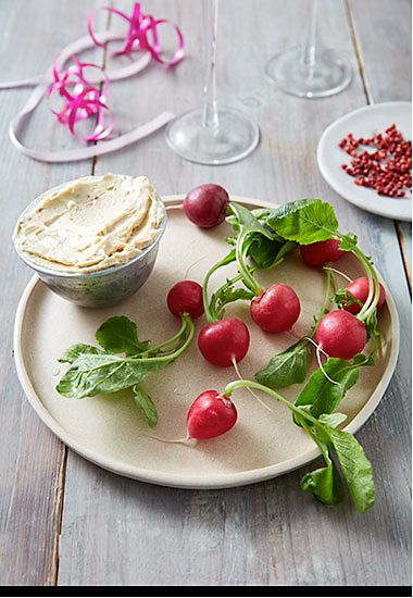 Anchovy butter with radishes