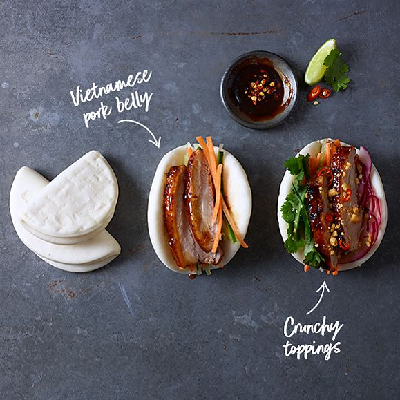 Vietnamese pork belly bao with chillies, peanuts and pickles