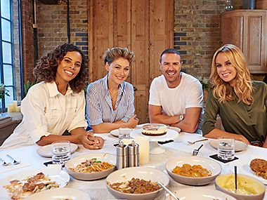 Celebrity tasters Rochelle Humes, Emma Willis, Paddy McGuinness and Amanda Holden