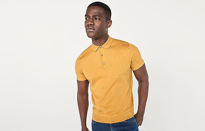 319eecec38e Man wearing yellow knitted polo