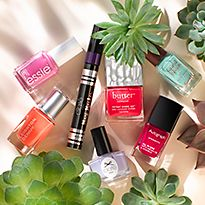 Collection of bright nail polishes