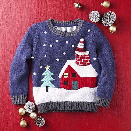 Kids' Christmas jumper on red Christmas background