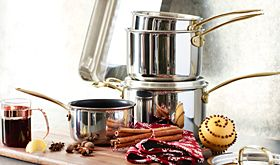 Set of pans with mulled wine ingredients