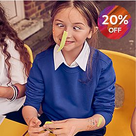 Girl wearing M&S school jumper with StayNew technology