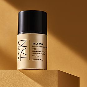 Autograph Self Tan Overnight Glow Mask against a golden background